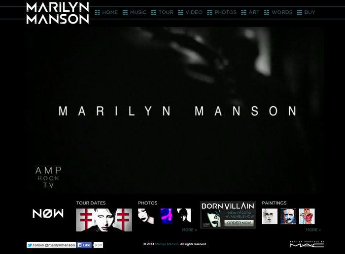 web design of marilynManson