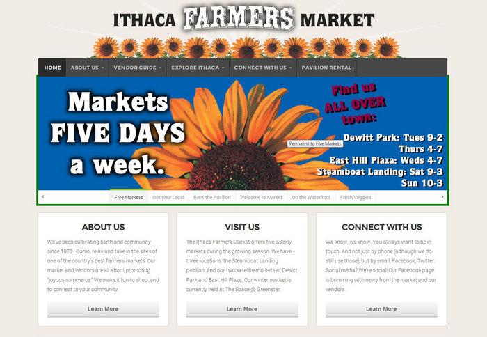 web design of Ithaca Farmers Market