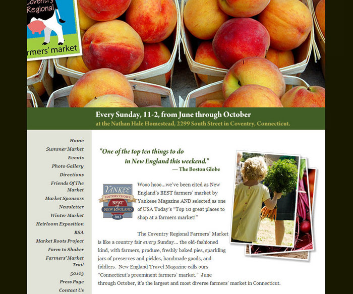 web design of Coventry Farmers Market