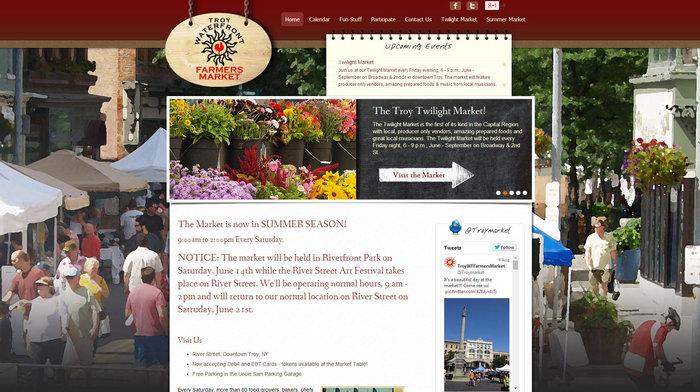 web design of Troy Waterfront Farmers Market