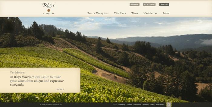 web design of Rhys Vineyards