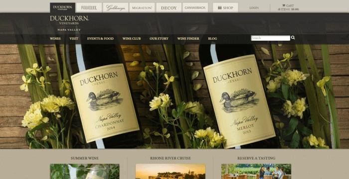 web design of Duckhorn Vineyards