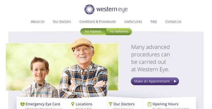 web design of Western Eye
