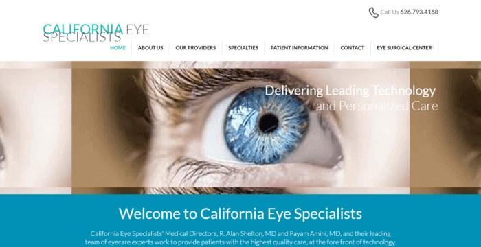 web design of California Eye Specialists