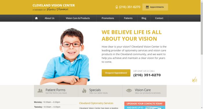 web design of Cleveland Vision Center