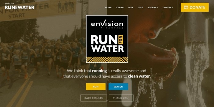 racing web design - run for water