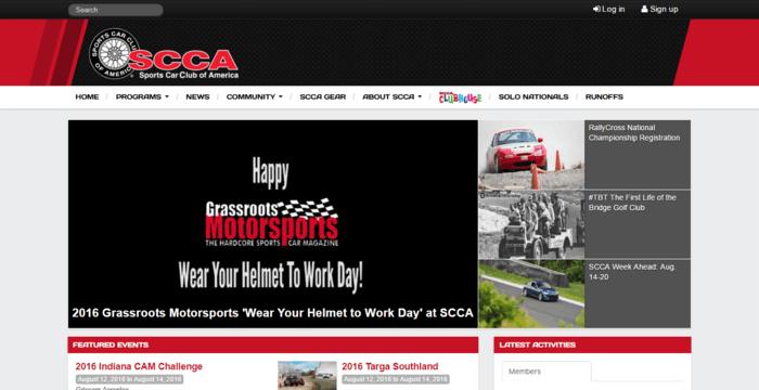 racing web design - scca