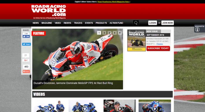racing web design - Road Racing
