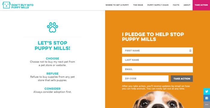 landing page design - Puppy mills