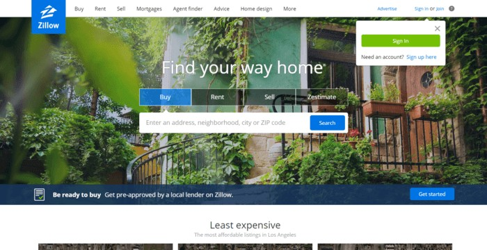 landing page design - Zillow