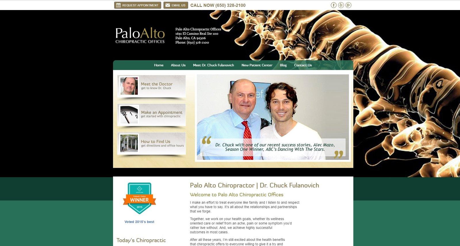 web design for Palo Alto Chiropractic