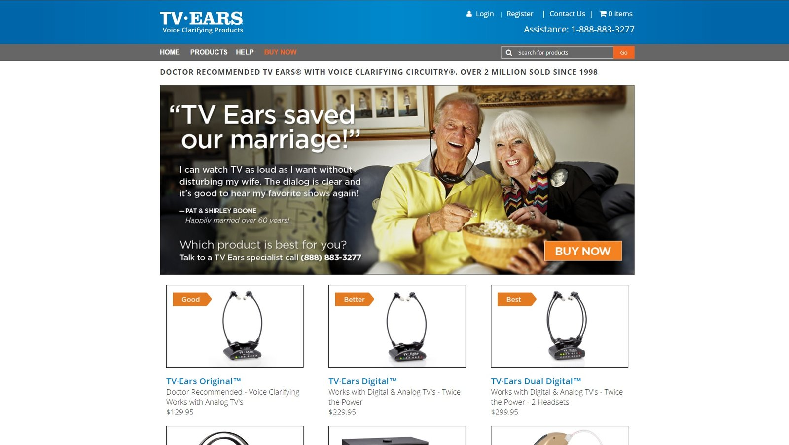 web design of TV Ears