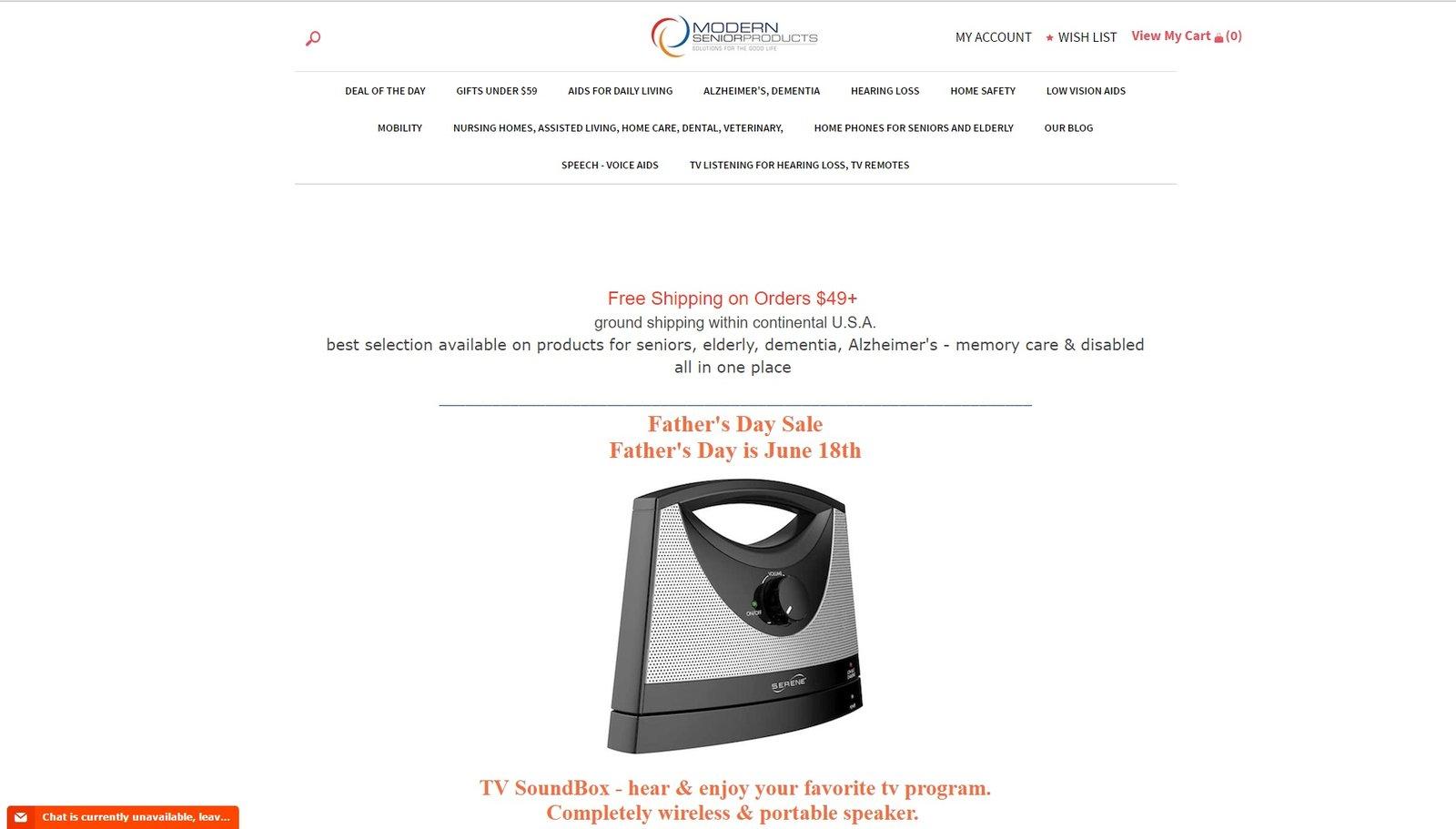 web design of ModernSeniorProducts
