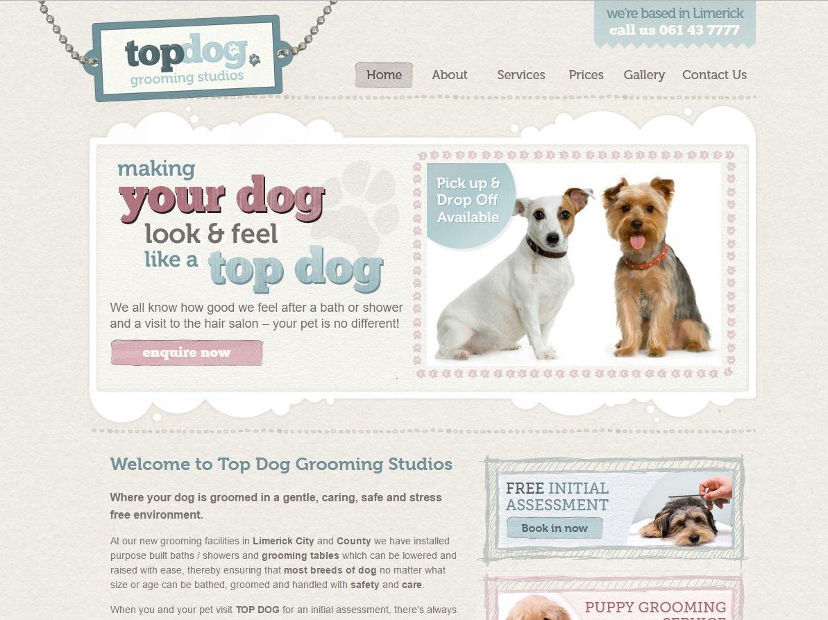 web design of Top Dog Grooming