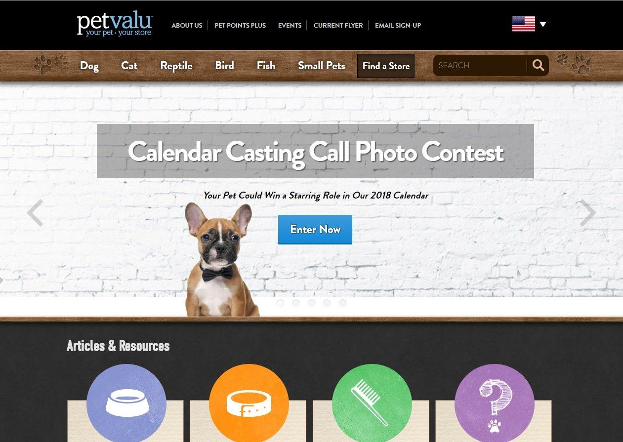 web design of Pet Valu