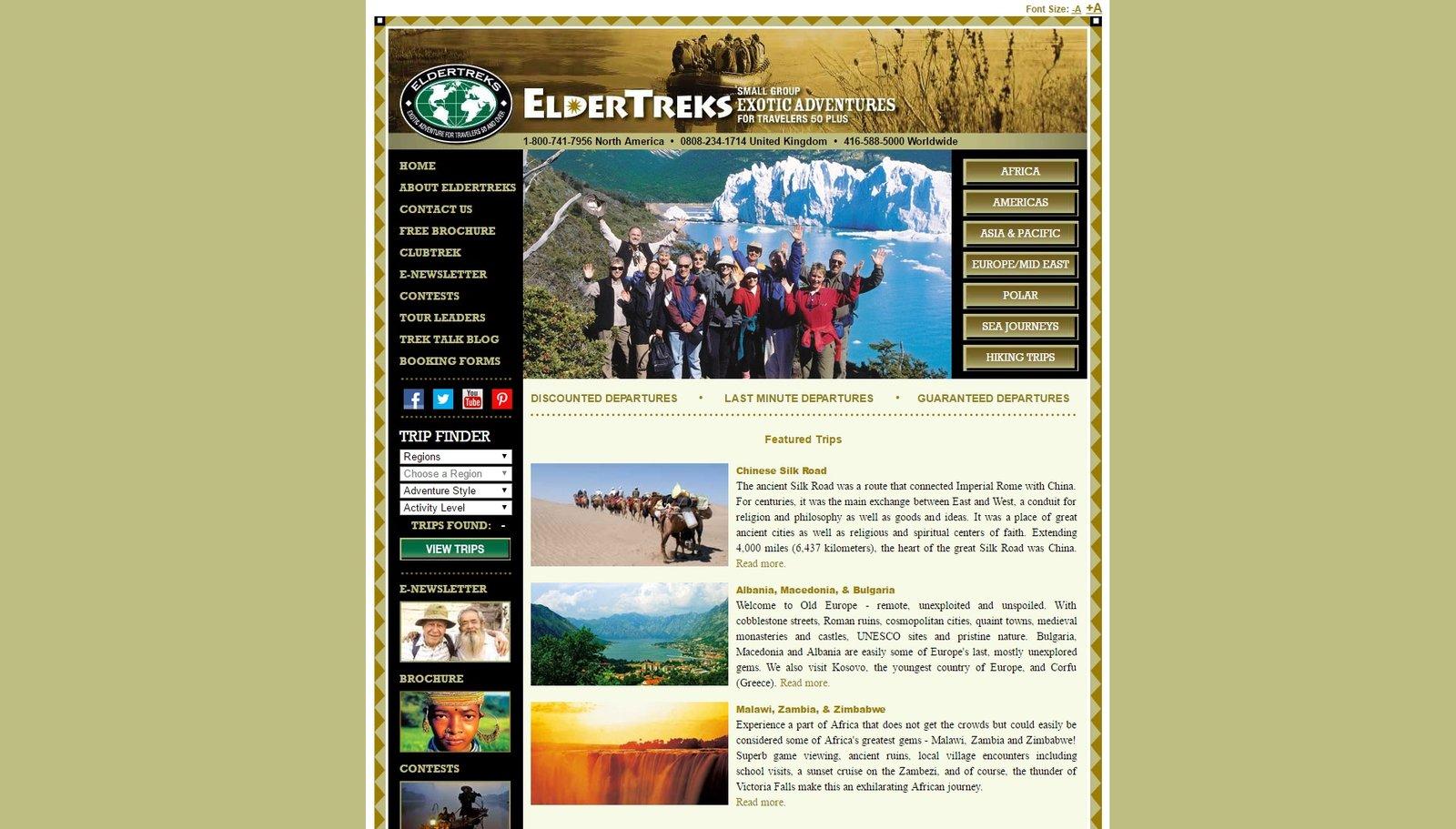 web design of ElderTreks