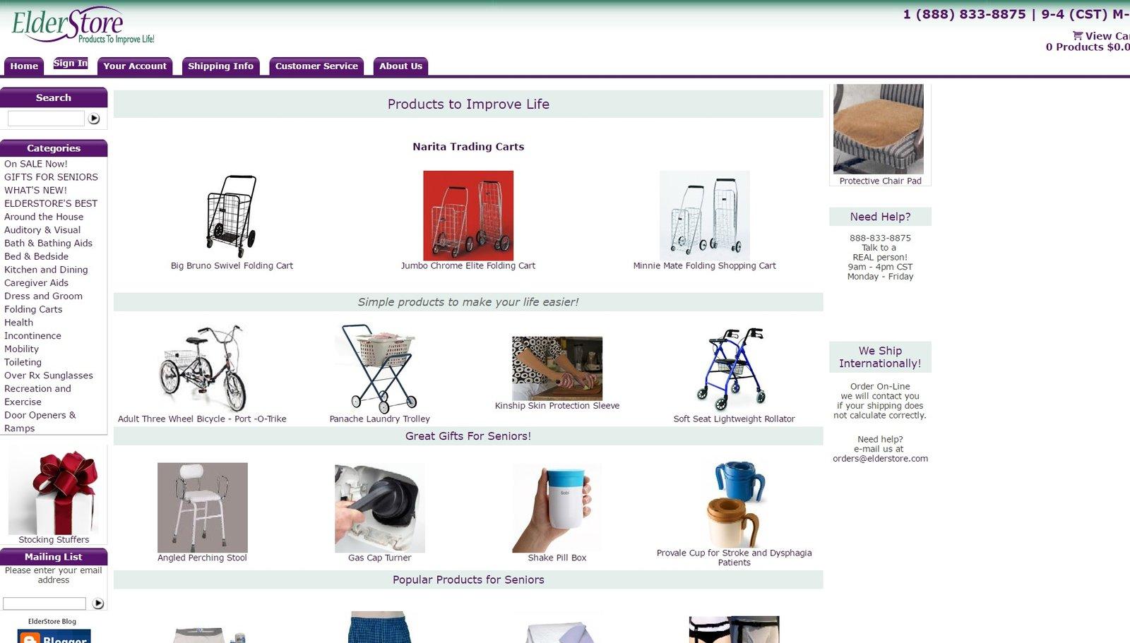 web design of ElderStore