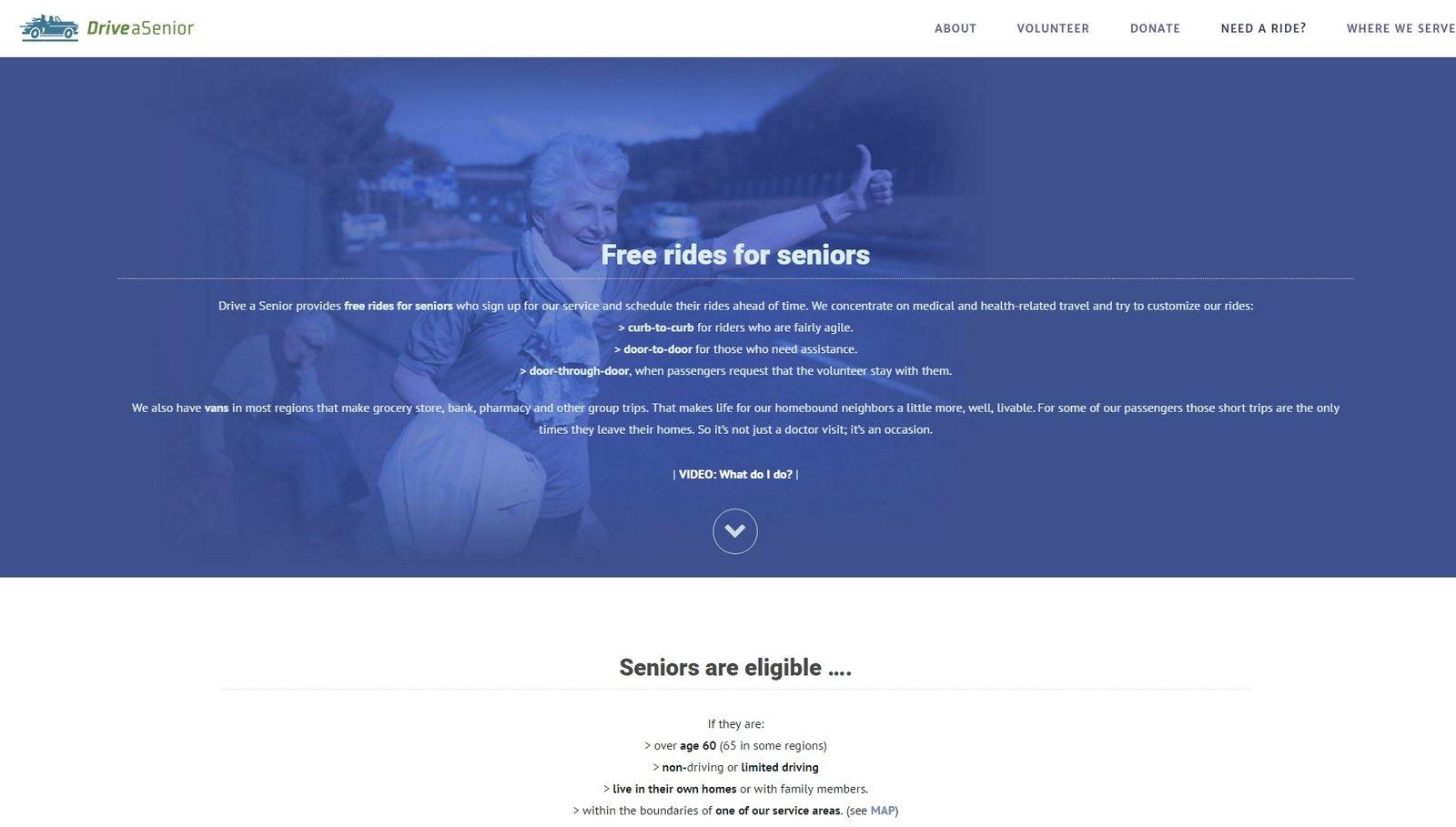 web design of Drive a Senior