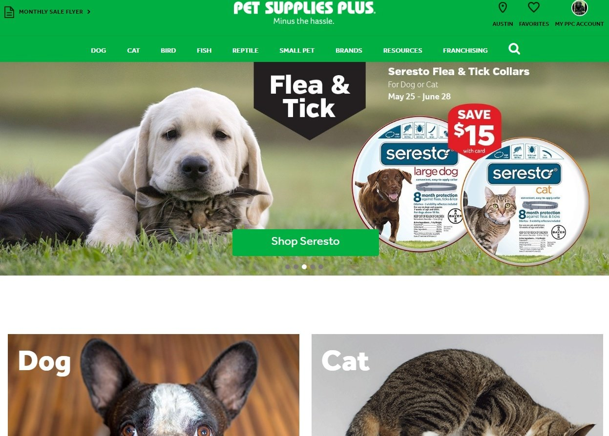 web design of Pet Supplies Plus