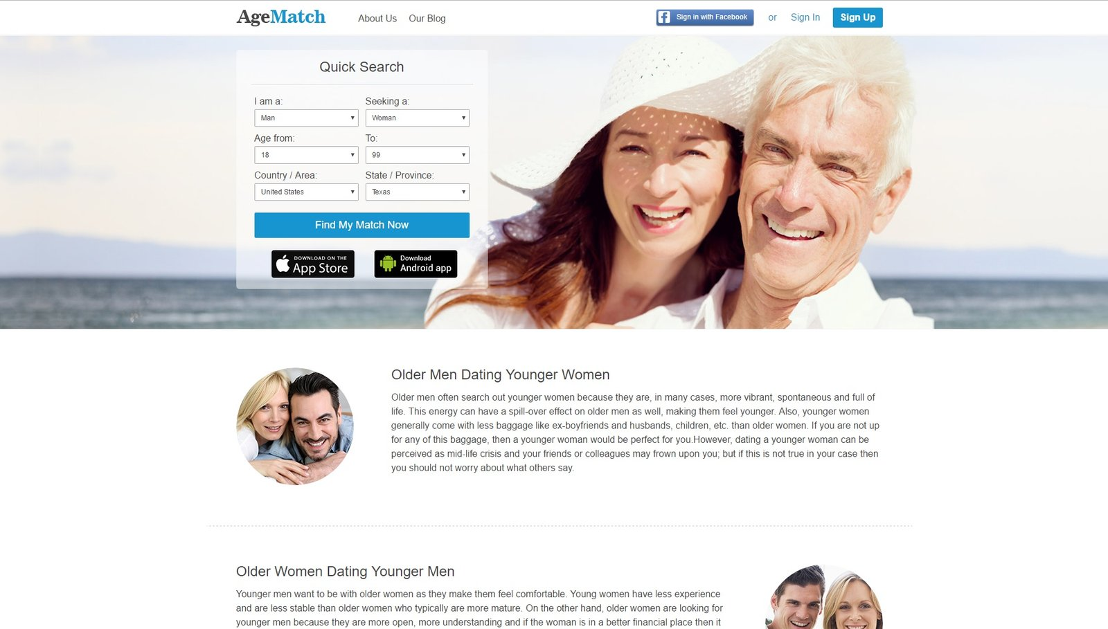 web design of AgeMatch