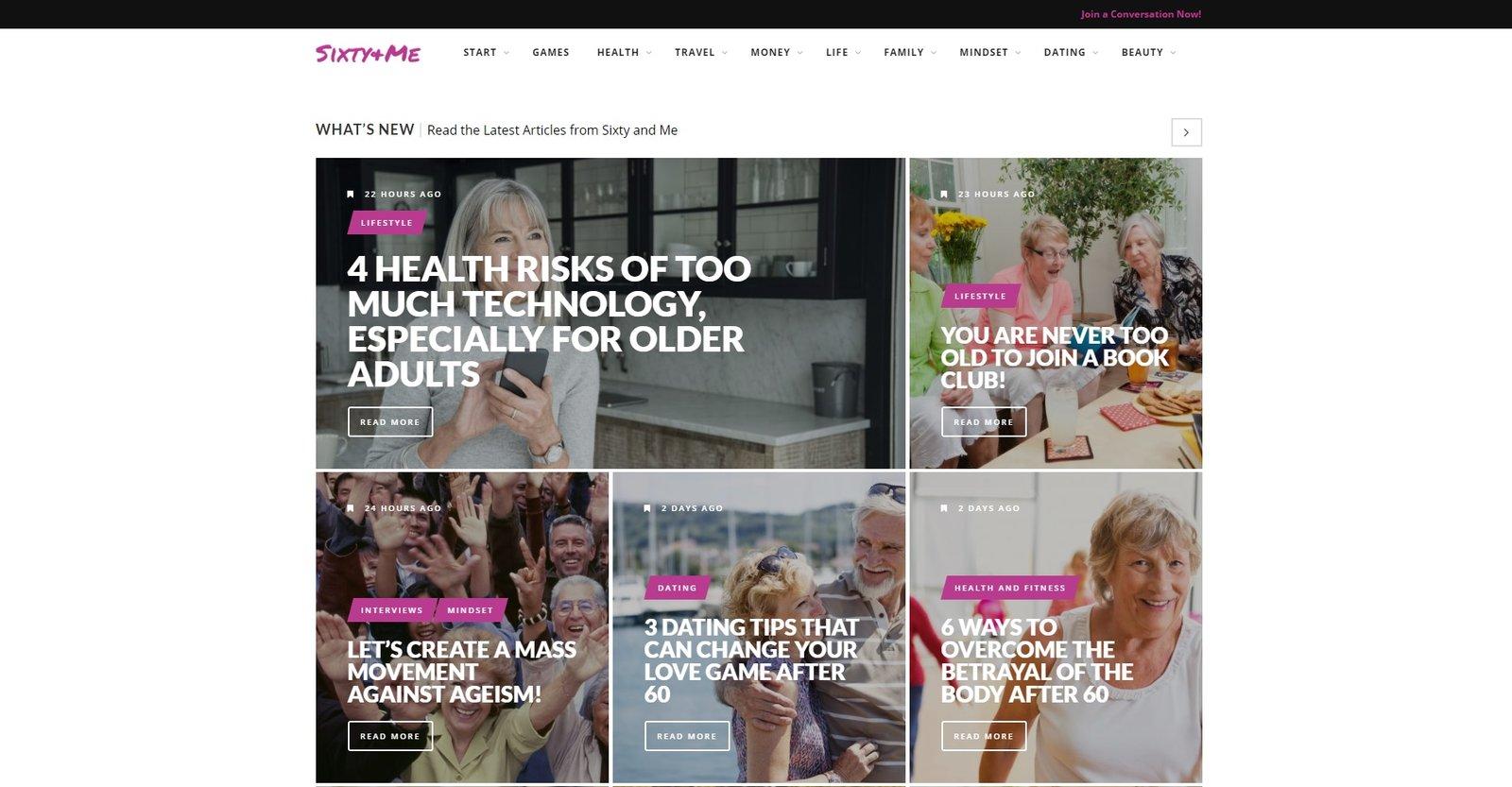 web design of Sixty Me