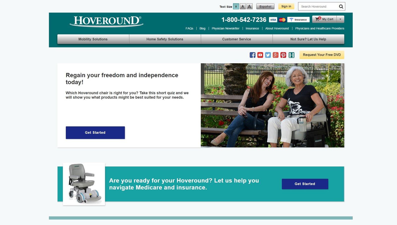 web design of HoverRound