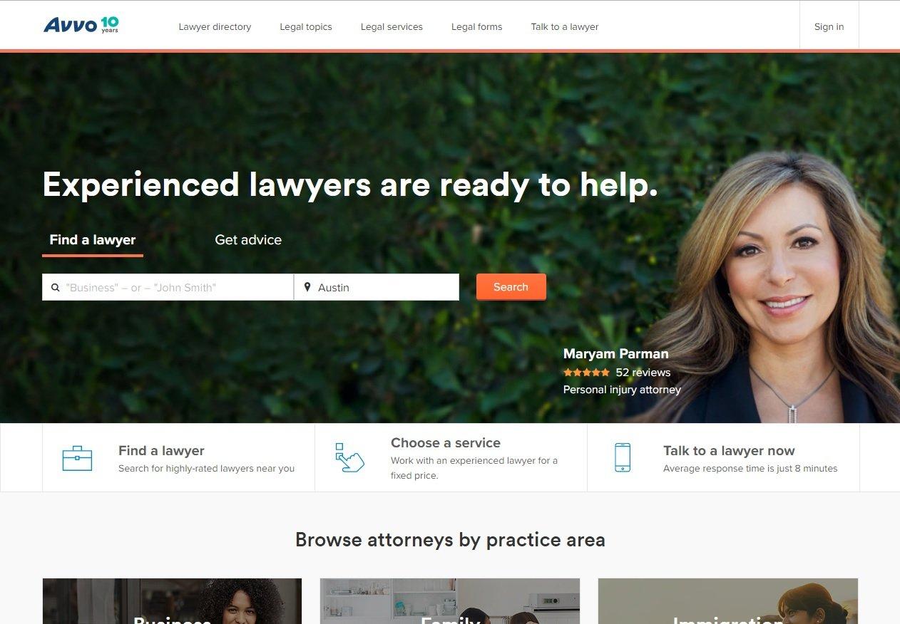 web design of Avvo