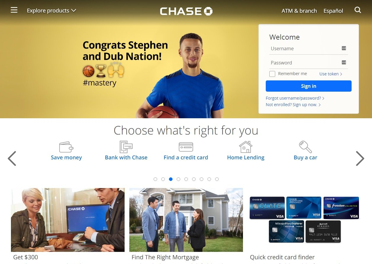 web design of Chase