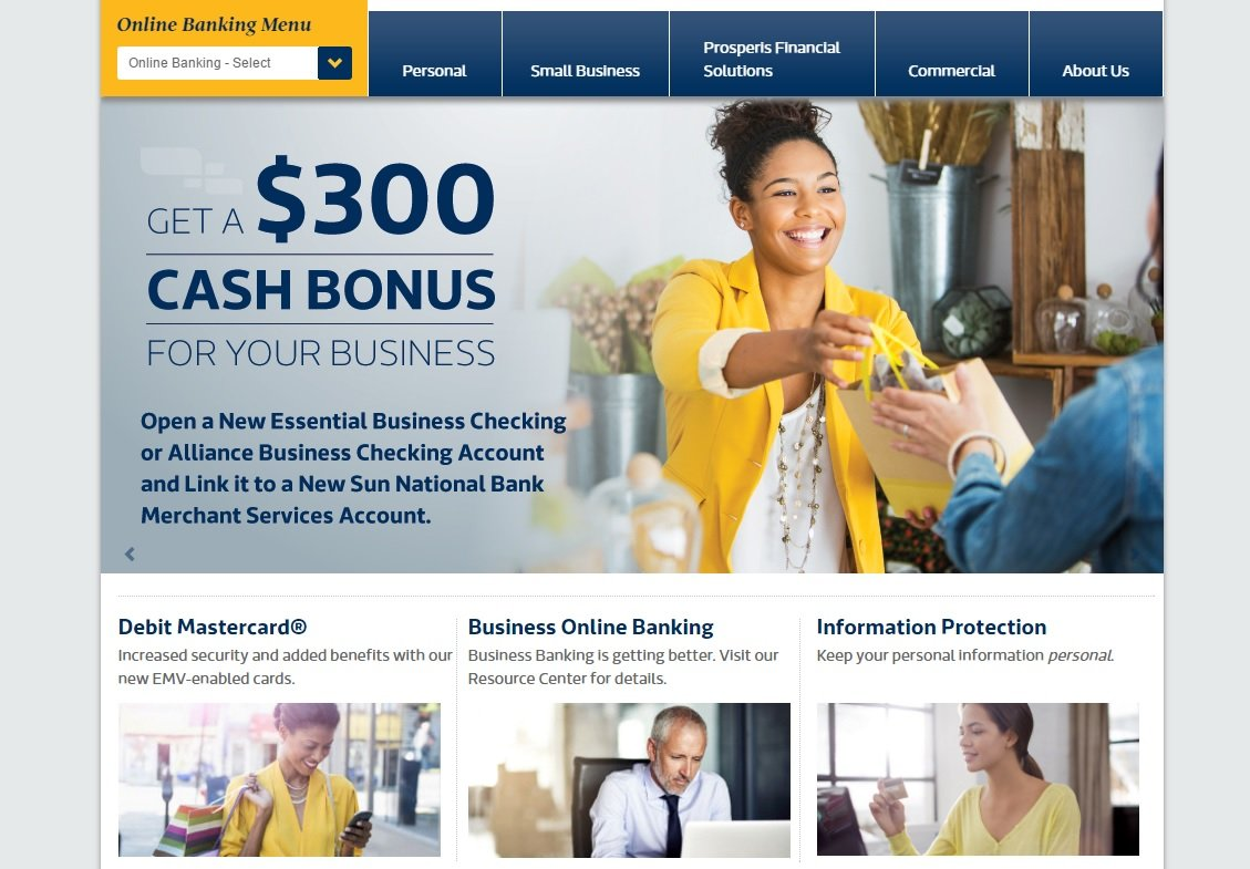 web design of Sun Bank
