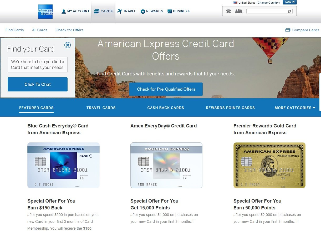 web design of Ammerican Express