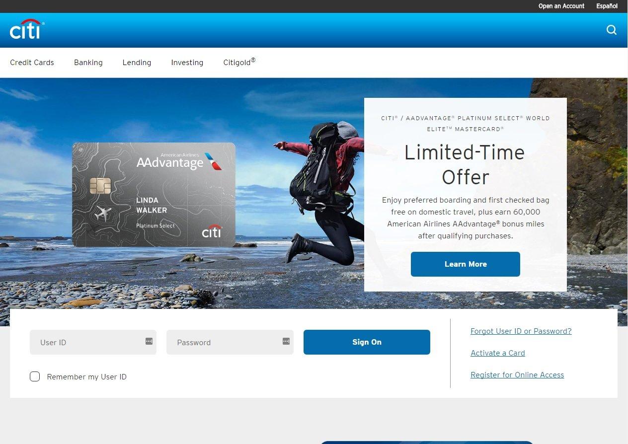 web design of Citi