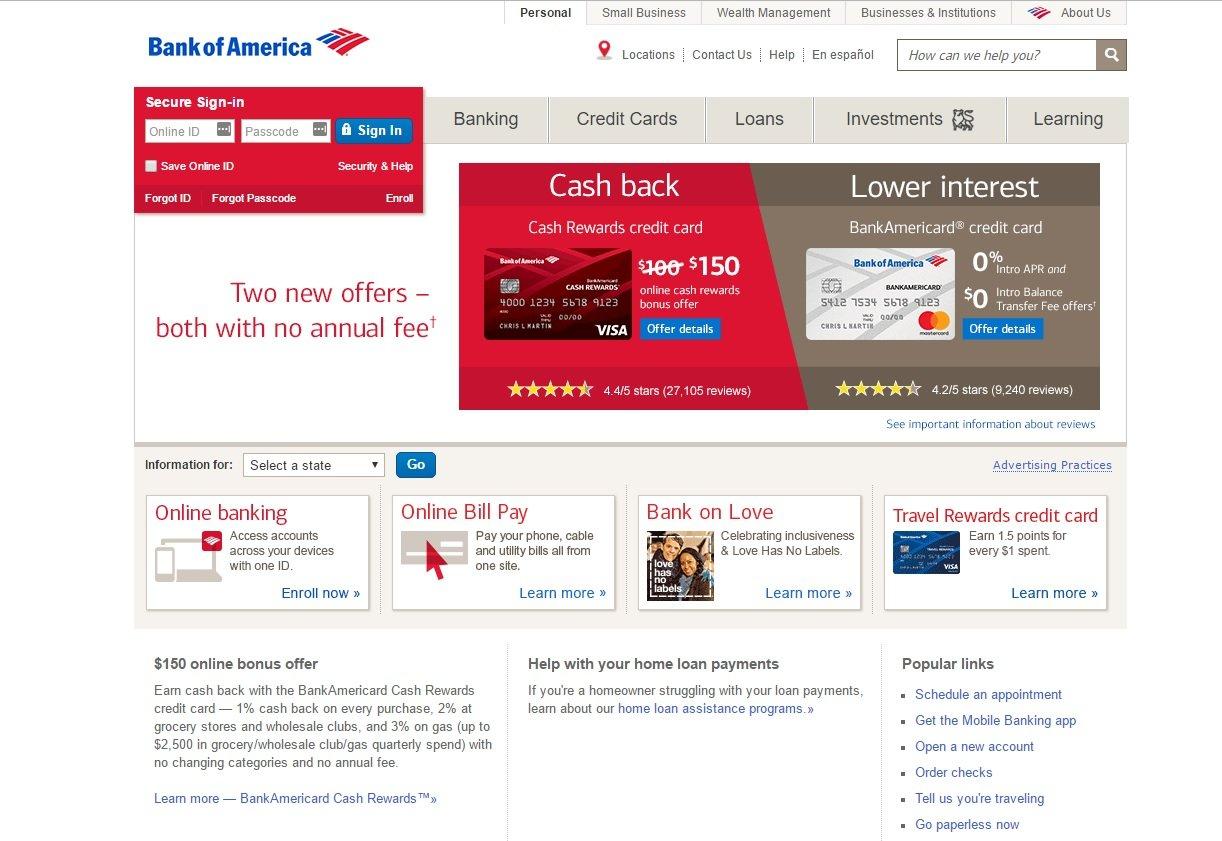 web design of Bank of America