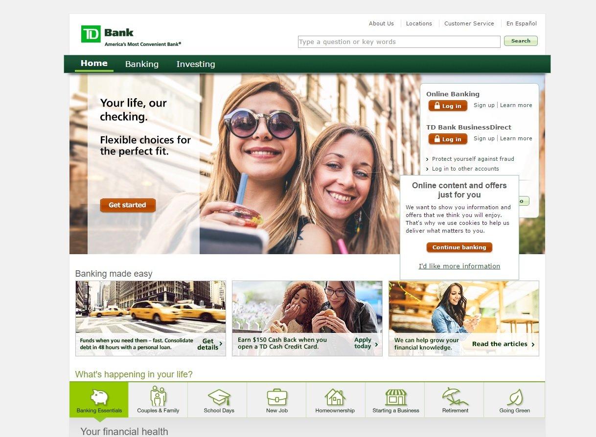 web design of TD bank
