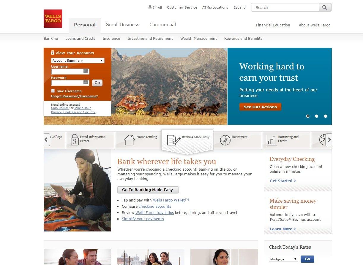web design of Wells Fargo